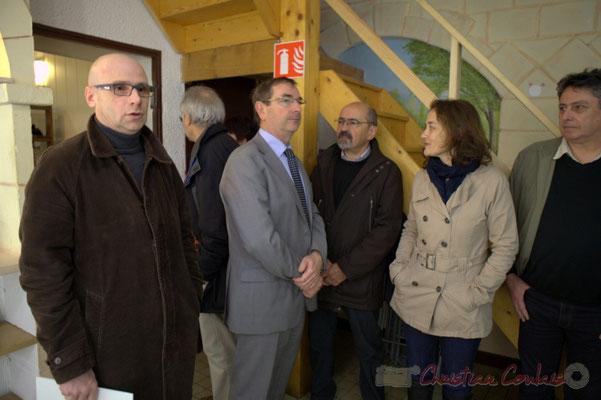 Jean Samenayre, Adjoint au Maire de Créon, Daniel Coz, Maire de Sadirac, Michel Nadaud, Maire de Le Pout, Mathilde Feld, Présidente de la Communauté de Communes du Créonnais