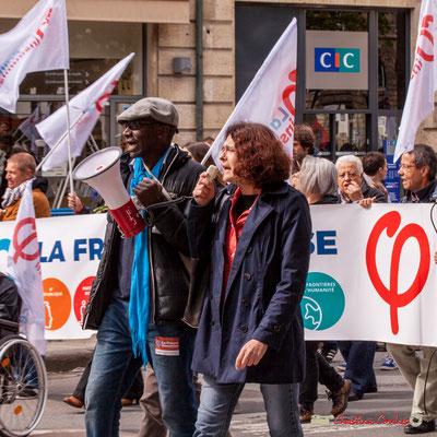 11h00 Mamadou Niang au porte-voix, cortège la France insoumise, place Gambetta, Bordeaux. 01/05/2018