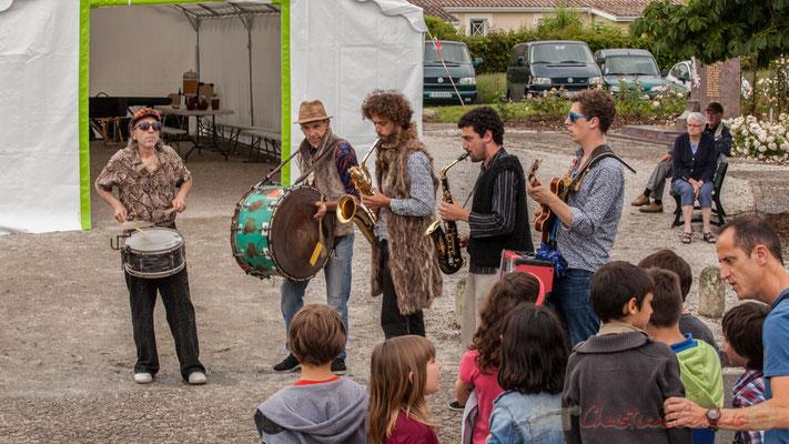 Jean-Michel Achiary, Christophe Urbanski, Brice Matha, Mathis Polack, Thomas Boudé, Fanfare afro-jazz Elephant Brass Machine, Festival Jazz360 2016, Cénac, 10/06/2016