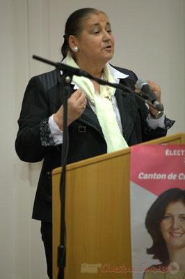 """Martine Faure. Meeting républicain des candidats """"Majorité départementale"""" aux élections départementales du canton de Créon, 19 mars 2015"""