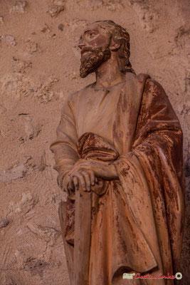 Saint-André et la croix de son supplice. Eglise Saint-André, Cénac. 28/04/2018