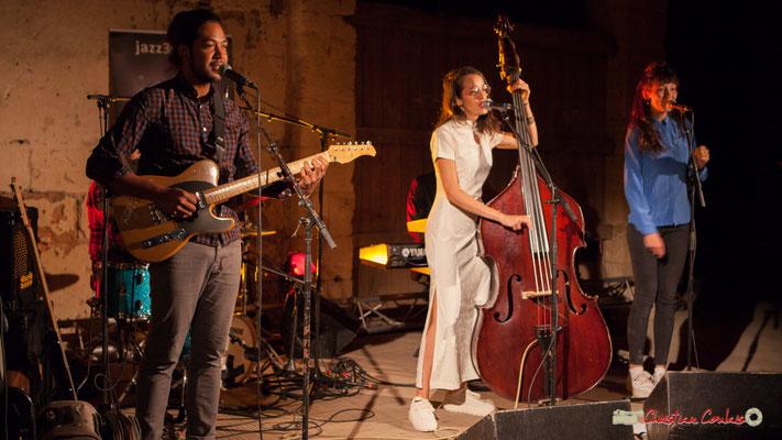 Johary Rakotondramasy, Laure Sanchez, Caroline Turtaut; Laure Sanchez Quintet, JAZZ360 au Domaine de Sentout, Lignan-de-Bordeaux. 08/09/2018