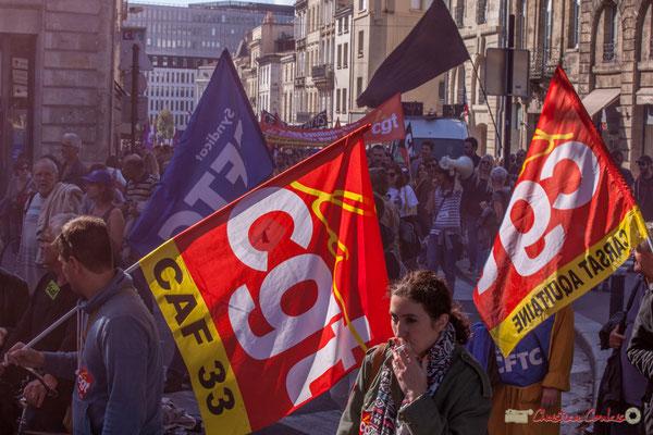 CGT C.A.F.33. / C.G.T. CARSAT aquitaine. Manifestation intersyndicale de la Fonction publique, place Gambetta, Bordeaux. 10/10/2017