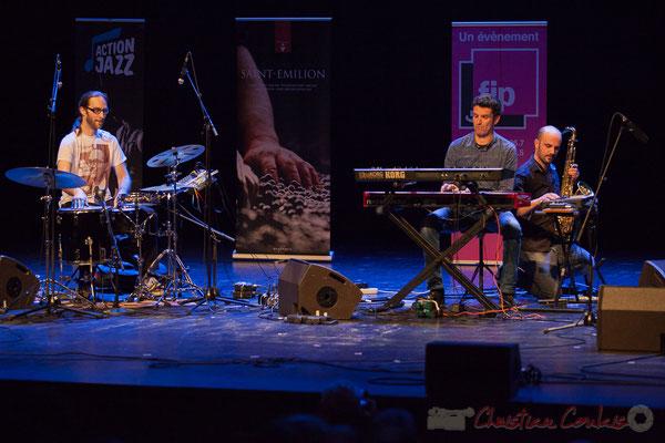 4 King Kong III, trio composé de Simon Pourbaix, Stéphane Cazilhac, Edouard Lhoumeau. Tremplin Action Jazz 2017. Le Rocher de Palmer, Cenon