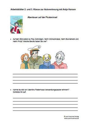 Abenteuer auf der Pirateninsel, Arbeitsblatt Klasse 2+3