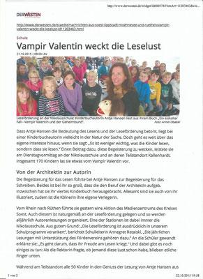 Vampir Valentin Lesung Antje Hansen