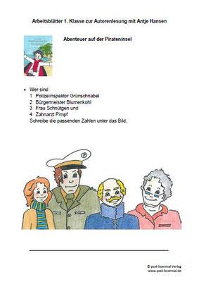 Abenteuer auf der Pirateninsel, Arbeitsblatt Klasse 1