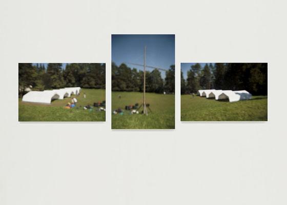 """""""Sommerferien"""", Triptychon 2006, Ausstellungsansicht, K4 galerie, Saarbrücken, 2009"""