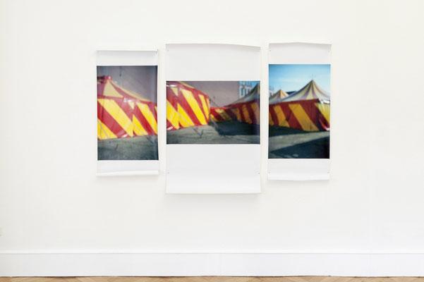 """""""Zelt"""" Triptychon, 2014, Ausstellungsansicht, Köppe Contemporary, Berlin, 2014"""