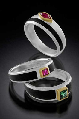 Ebony rings, ruby & tourmaline, sterling