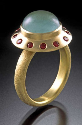 Aquamarine ruby ring, 18ky