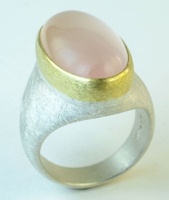 Rose quartz, 18KY, sterling