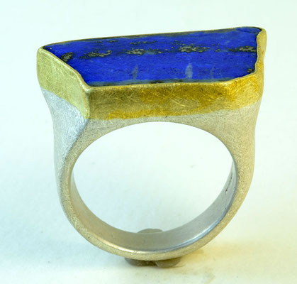 Lapis ring, 18KY, sterling