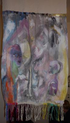 Conversation peinture tissus  (verso) vendu