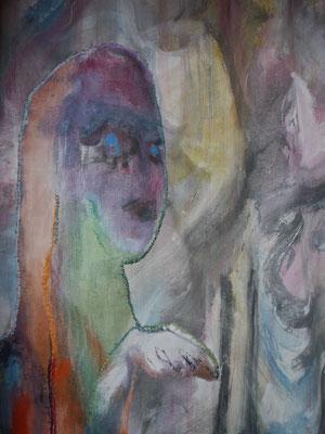 Conversation, peinture tissus détail