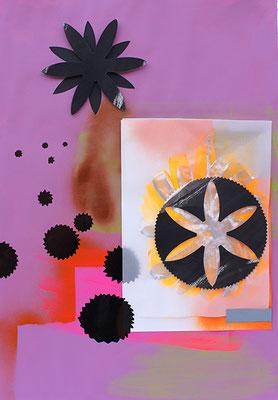 Sternenhimmel, 2010, Mischtechnik und Collage auf Papier, 60 x 42 cm