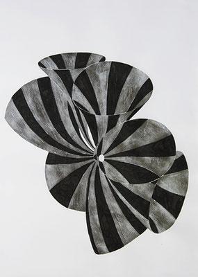 SW 6, 2010, Tusche und Blattaluminium auf Papier, 73 x 53 cm