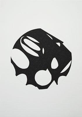 KreisRaum 1, 2014, Tusche auf Papier, 40 x 30 cm