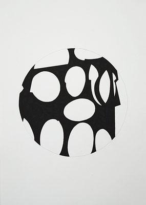 Kreisraum 3, 2014, Tusche auf Papier, 40 x 30 cm