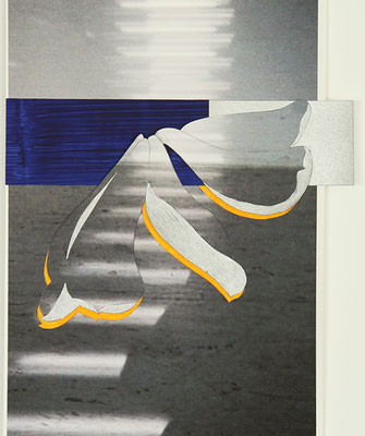 Falling tulip 1, 2015, Acryl auf Papier auf Print, 30 x 20 cm