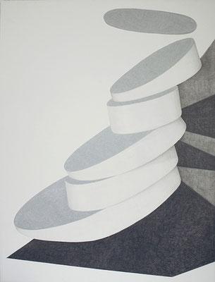 Schräge, 2014, Bleistift und Lackstift auf Papier, 120 x 90 cm