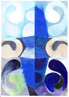 Entwurf 1, 2016, Mischtechnik auf Papier, 30 x 20 cm