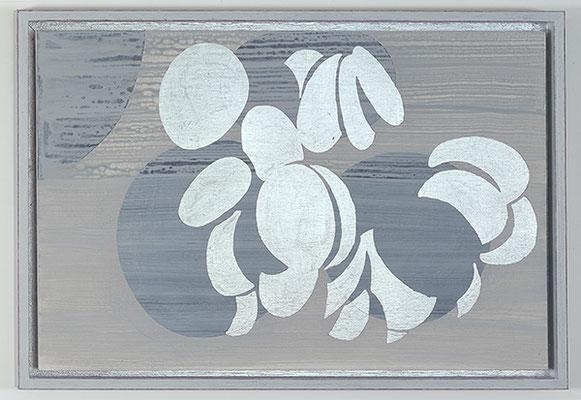 Ulmen 22, 2008, Acryl und Schlagmetall auf Holz, 34 x 49 cm