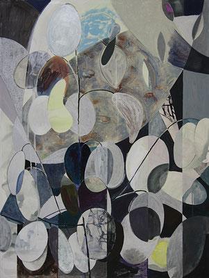 Perennial Honest, 2016, Mischtechnik auf Buetten auf Leinwand, 120 x 90 cm