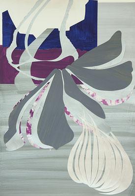 Falling tulip 2, 2015, Acryl auf Papier, 90 x 70 cm