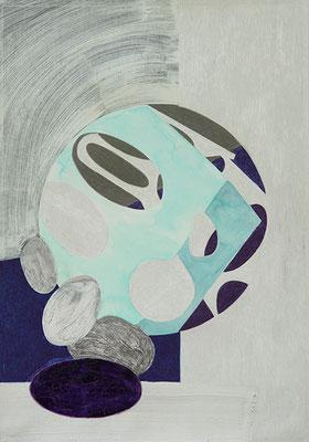 Komposition 4, 2015, Mischtechnik auf Papier, 40 x 30 cm