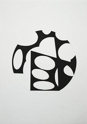 KreisRaum 2, 2014, Tusche auf Papier, 40 x 30 cm