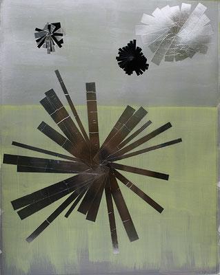 Guides 1, 2010, Acryl und Tapes auf Buetten auf Leinwand, 145 x 115 cm