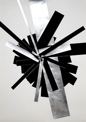 SW 2, 2010, Tusche und Blattaluminium auf Papier, 73 x 53 cm