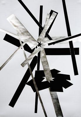 SW 5, 2010, Tusche und Blattaluminium auf Papier, 73 x 53 cm
