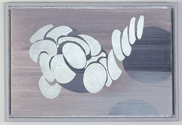 Ulmen 23, 2008, Acryl und Schlagmetall auf Holz, 34 x 49 cm