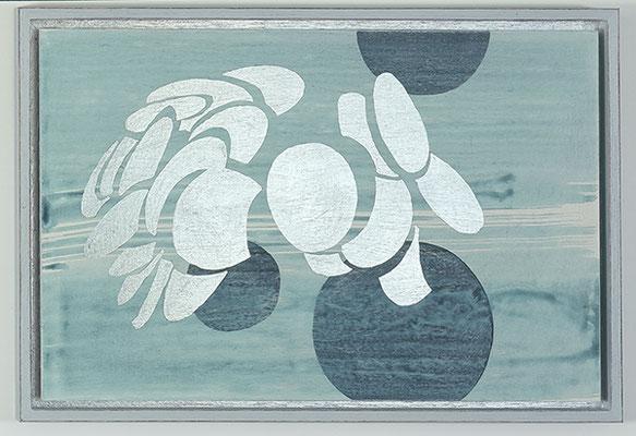 Ulmen 21, 2008, Acryl und Schagmetall auf Holz, 34 x 49 cm