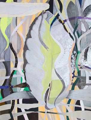 Big Leaf, 2017, Mischtechnik auf Buetten auf Leinwand, 120 x 90 cm