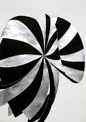 SW 4, 2010 Tusche und Blattaluminium auf Papier, 73 x 53 cm