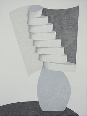 Entfaltung, 2014, Bleistift und Lackstift auf Papier, 120 x 90 cm