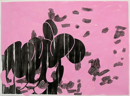 Kleeulme 13, 2008, Acryl auf Papier, 115 x 84 cm