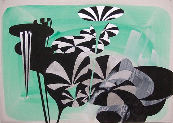 Landschaft-Entwurf, 2012, Mischtechnik auf Buetten, 65 x 80 cm