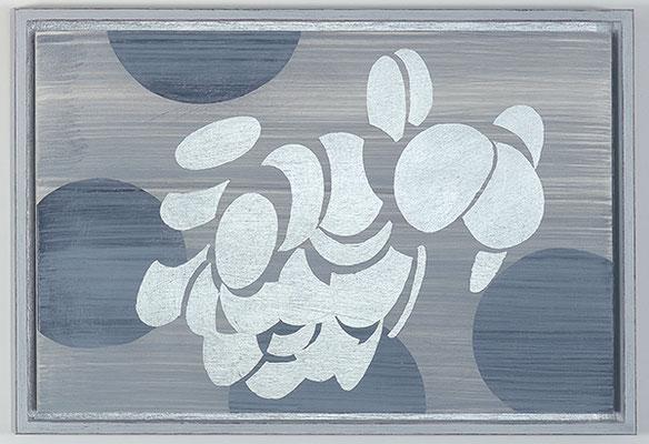 Ulmen 20, 2008, Acryl und Schlagmetall auf Holz, 34 x 49 cm