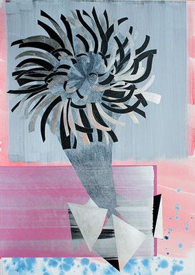 Big Calendula, 2011, Mischtechnik auf Buetten auf Leinwand, 175 x 115 cm