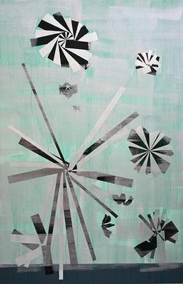 Guides 2, 2010, Mischtechnik auf Buetten auf Leinwand, 175 x 115 cm