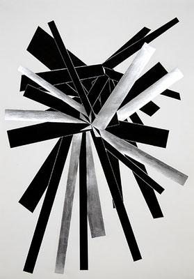 SW 1, 2010, Tusche und Blattaluminium auf Papier, 73 x 53 cm
