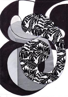 Muster 2, 2016, Tusche und Filzstift auf Papier, 15 x 10 cm
