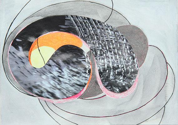 Wings 3, 2016, Mischtechnik auf Papier, 15 x 10 cm