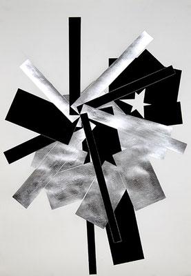 SW 3, 2010, Tusche und Blattaluminium auf Papier, 73 x 53 cm