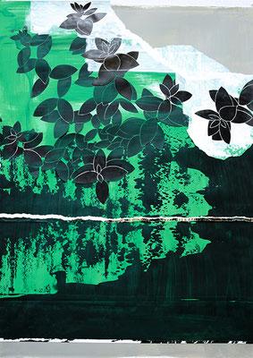 Nachtblüten, 2010, Mischtechnik auf Papier, 120 x 90 cm