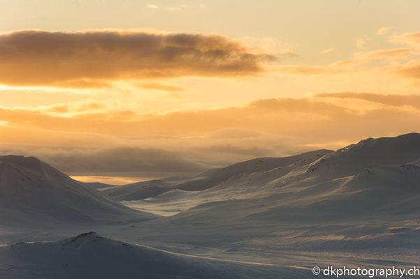 Sonnenuntergang im Fjell, Dovrefjell Norwegen.